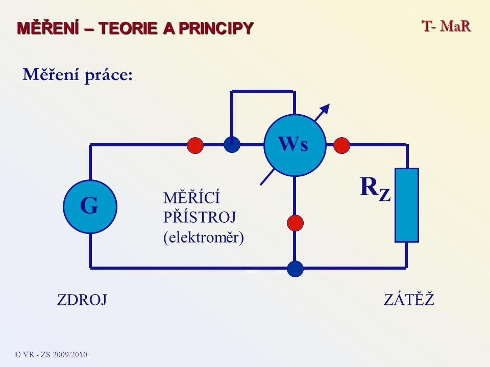© VR - ZS 2009/2010 Měření práce: ZÁTĚŽZDROJ G RZRZ Ws MĚŘÍCÍ PŘÍSTROJ (elektroměr) T- MaR MĚŘENÍ – TEORIE A PRINCIPY