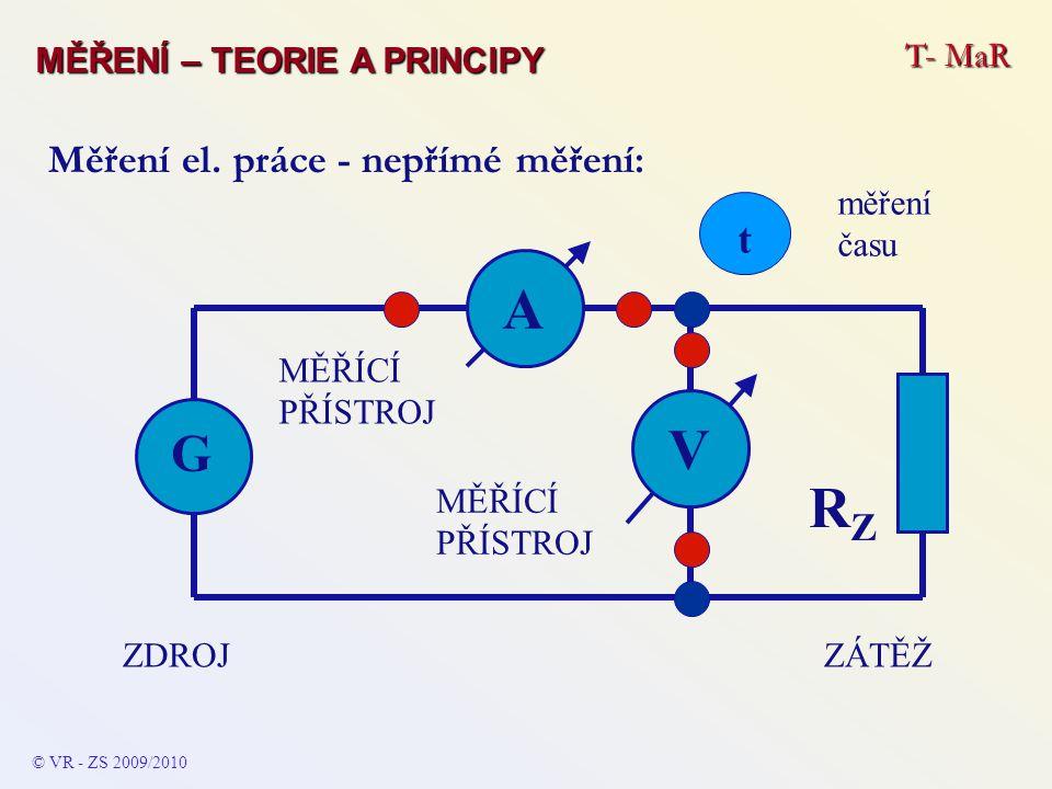 © VR - ZS 2009/2010 Měření el. práce - nepřímé měření: A ZÁTĚŽZDROJ G RZRZ MĚŘÍCÍ PŘÍSTROJ V t měření času T- MaR MĚŘENÍ – TEORIE A PRINCIPY