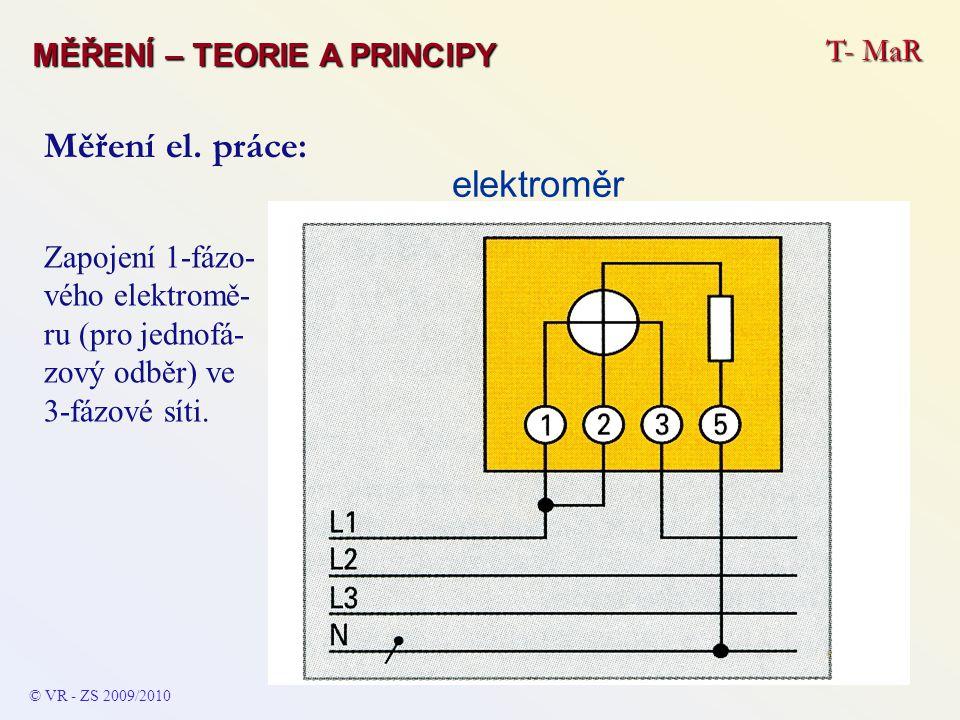 elektroměr Zapojení 1-fázo- vého elektromě- ru (pro jednofá- zový odběr) ve 3-fázové síti. Měření el. práce: © VR - ZS 2009/2010 T- MaR MĚŘENÍ – TEORI