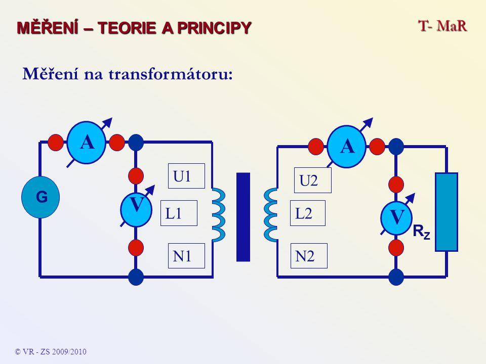 © VR - ZS 2009/2010 Měření na transformátoru: L1L2 N2N1 U1 U2 A V RZRZ G A V T- MaR MĚŘENÍ – TEORIE A PRINCIPY