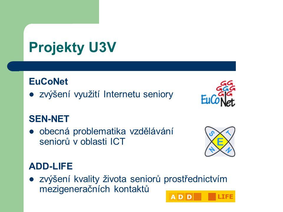 Projekty U3V EuCoNet zvýšení využití Internetu seniory SEN-NET obecná problematika vzdělávání seniorů v oblasti ICT ADD-LIFE zvýšení kvality života seniorů prostřednictvím mezigeneračních kontaktů