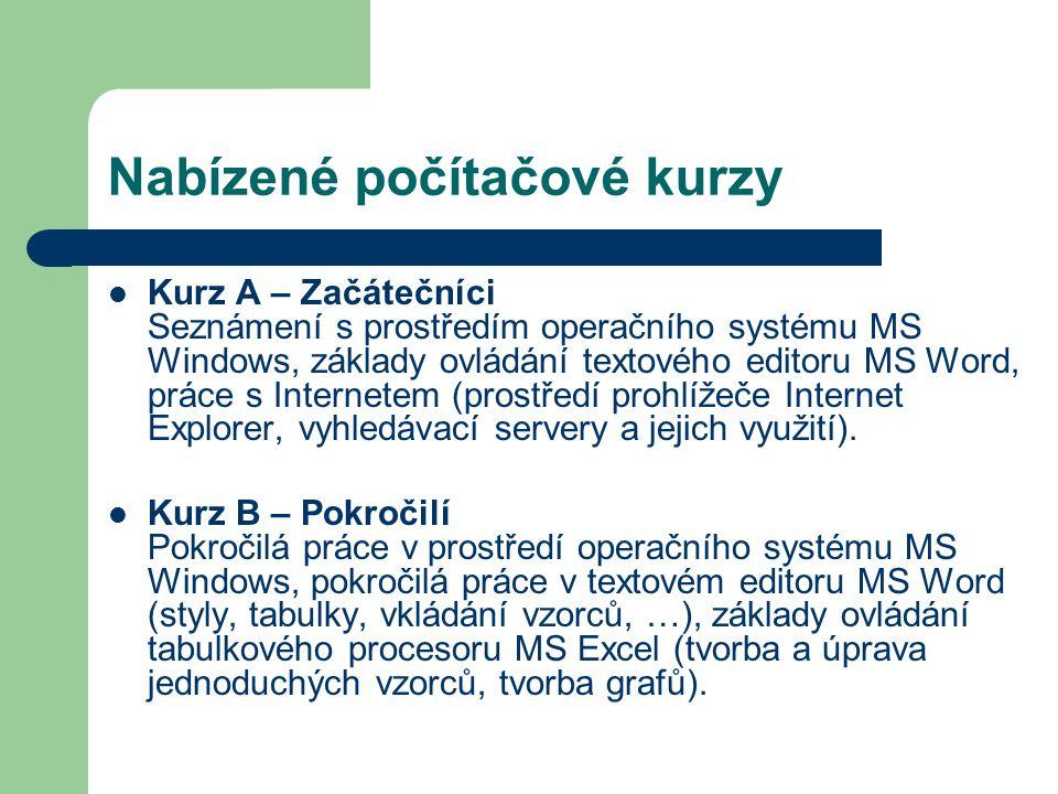Nabízené počítačové kurzy Kurz A – Začátečníci Seznámení s prostředím operačního systému MS Windows, základy ovládání textového editoru MS Word, práce s Internetem (prostředí prohlížeče Internet Explorer, vyhledávací servery a jejich využití).