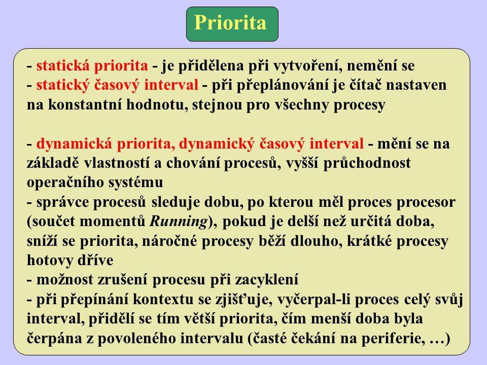 Priorita - statická priorita - je přidělena při vytvoření, nemění se - statický časový interval - při přeplánování je čítač nastaven na konstantní hodnotu, stejnou pro všechny procesy - dynamická priorita, dynamický časový interval - mění se na základě vlastností a chování procesů, vyšší průchodnost operačního systému - správce procesů sleduje dobu, po kterou měl proces procesor (součet momentů Running), pokud je delší než určitá doba, sníží se priorita, náročné procesy běží dlouho, krátké procesy hotovy dříve - možnost zrušení procesu při zacyklení - při přepínání kontextu se zjišťuje, vyčerpal-li proces celý svůj interval, přidělí se tím větší priorita, čím menší doba byla čerpána z povoleného intervalu (časté čekání na periferie, …)
