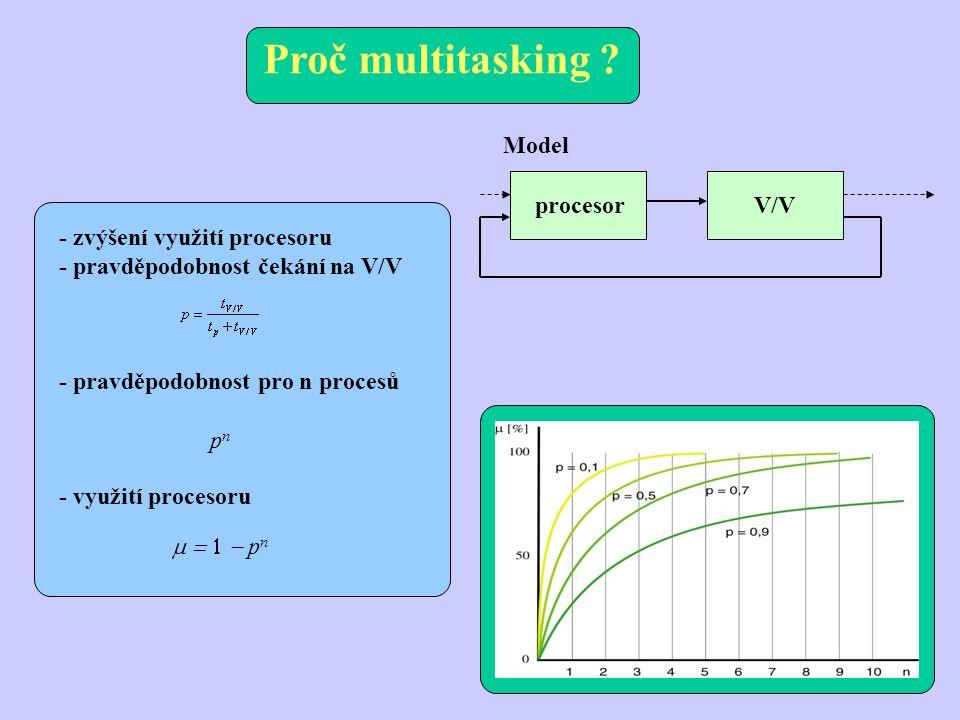 preemptivní multitasking - libovolné přerušení procesu bez jeho spolupráce, zvětší se kontext (kompletní stav procesoru, pomocných procesorů, …), prostředky se povolí pouze jednomu procesu (I/O kanály, tisk, porty…) - nebezpečí zablokování, řeší se prostřednictvím serverů - speciální procesy pro práci s prostředky, mají své klienty, přepnutí lze vyvolat kdykoliv, v rámci kteréhokoliv přerušení, vývoj: vzájemné volání, omezené přepínání, neomezené přepínání, kooperativní multitasking, preemptivní multitasking Výhody preemptivního multitaskingu: * přechod k jinému programu bez nutnosti přerušovat práci * snadná implementace činností, které musí probíhat paralelně (správa počítačové sítě, …), zajištění běhu dalších procesů * lepší kooperace programů (není potřeba soubory) * nutná podmínka pro víceuživatelské prostředí * lepší využití kapacity výpočetního systému (procesor ne- zahálí při čekání) Nevýhody preemptivního multitaskingu: * degradace programu při spuštění více úloh, dnes irelevantní * větší režie OS spojená s plánováním * větší, složitější, dražší, náročnější na HW * větší nároky na bezpečnost