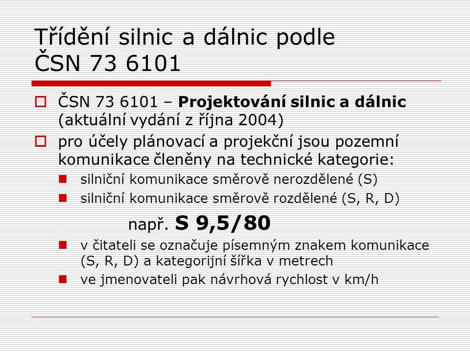 Třídění silnic a dálnic podle ČSN 73 6101  ČSN 73 6101 – Projektování silnic a dálnic (aktuální vydání z října 2004)  pro účely plánovací a projekčn