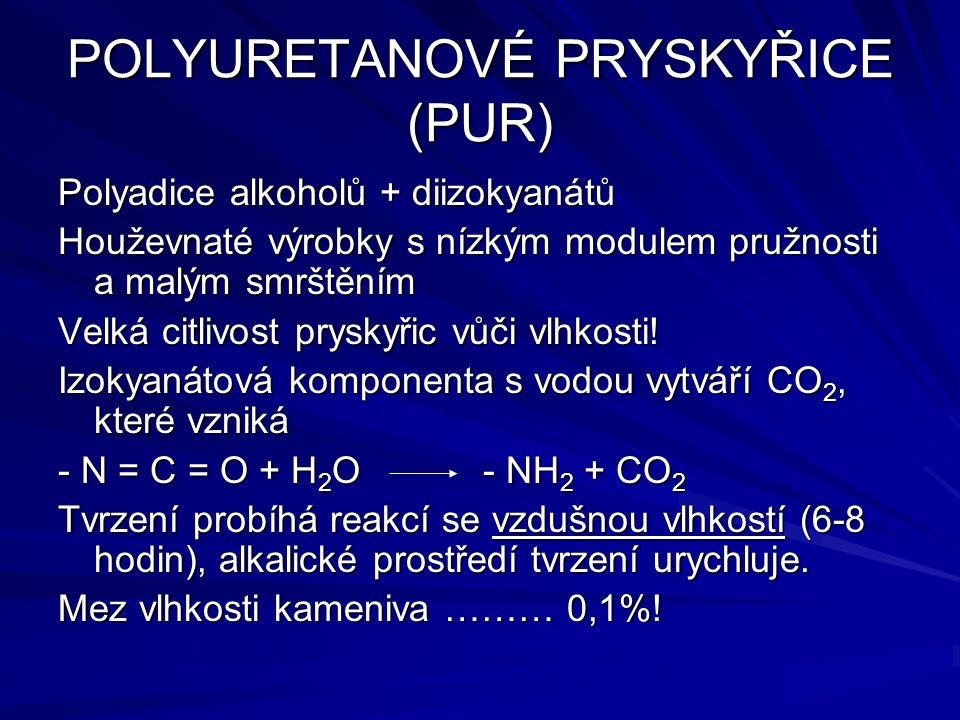 POLYURETANOVÉ PRYSKYŘICE (PUR) Polyadice alkoholů + diizokyanátů Houževnaté výrobky s nízkým modulem pružnosti a malým smrštěním Velká citlivost prysk