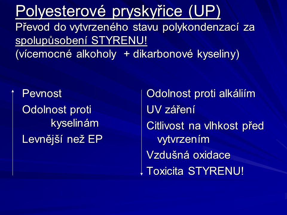 Polyesterové pryskyřice (UP) Převod do vytvrzeného stavu polykondenzací za spolupůsobení STYRENU! (vícemocné alkoholy + dikarbonové kyseliny) Pevnost