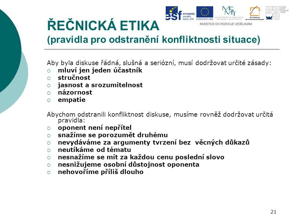 21 ŘEČNICKÁ ETIKA (pravidla pro odstranění konfliktnosti situace) Aby byla diskuse řádná, slušná a seriózní, musí dodržovat určité zásady:  mluví jen