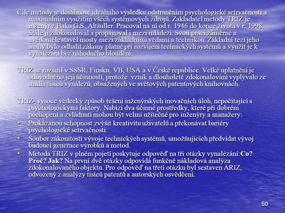 50 Cíle metody je dosáhnout ideálního výsledku odstraněním psychologické setrvačnosti a maximálním využitím všech systémových zdrojů.