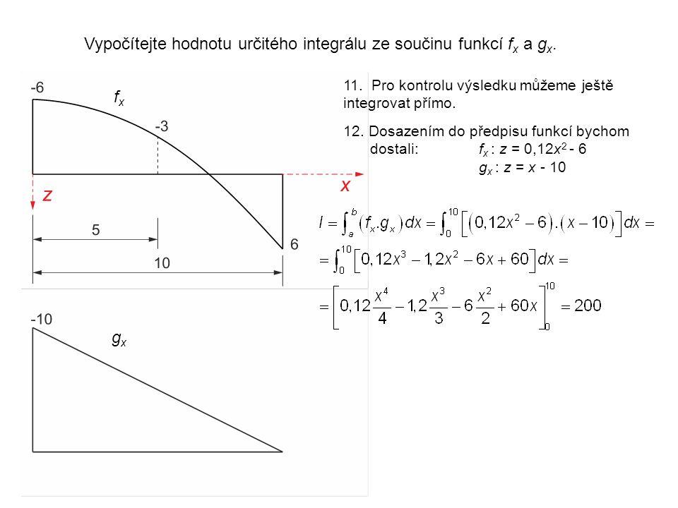 Vypočítejte hodnotu určitého integrálu ze součinu funkcí f x a g x.