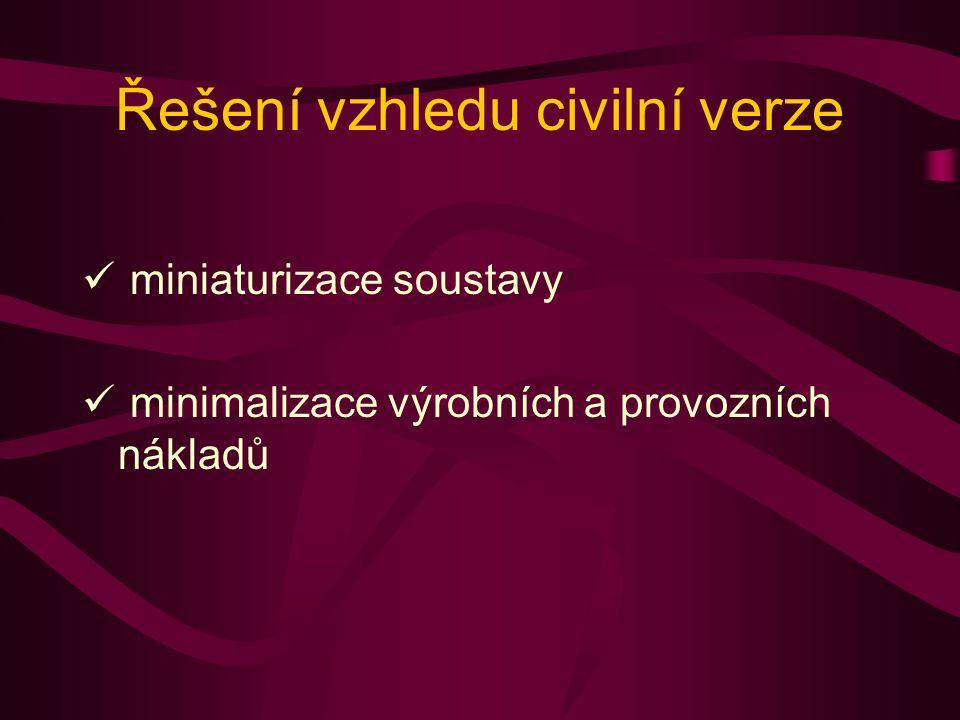 Řešení vzhledu civilní verze miniaturizace soustavy minimalizace výrobních a provozních nákladů