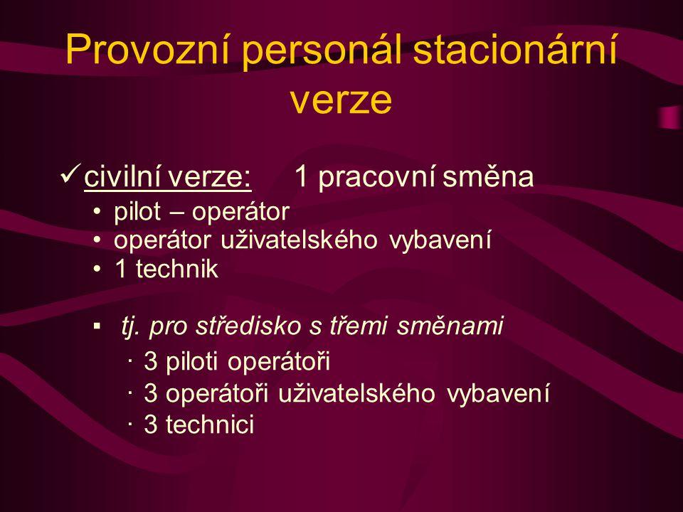 Provozní personál stacionární verze civilní verze: 1 pracovní směna pilot – operátor operátor uživatelského vybavení 1 technik ▪ tj.