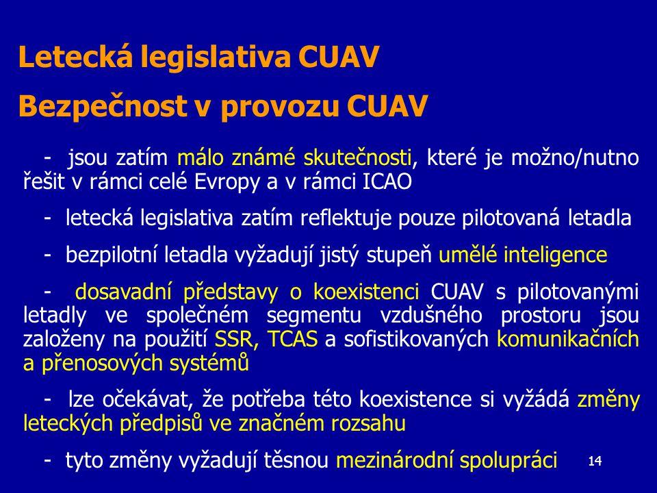14 Letecká legislativa CUAV Bezpečnost v provozu CUAV - jsou zatím málo známé skutečnosti, které je možno/nutno řešit v rámci celé Evropy a v rámci ICAO - letecká legislativa zatím reflektuje pouze pilotovaná letadla - bezpilotní letadla vyžadují jistý stupeň umělé inteligence - dosavadní představy o koexistenci CUAV s pilotovanými letadly ve společném segmentu vzdušného prostoru jsou založeny na použití SSR, TCAS a sofistikovaných komunikačních a přenosových systémů - lze očekávat, že potřeba této koexistence si vyžádá změny leteckých předpisů ve značném rozsahu - tyto změny vyžadují těsnou mezinárodní spolupráci