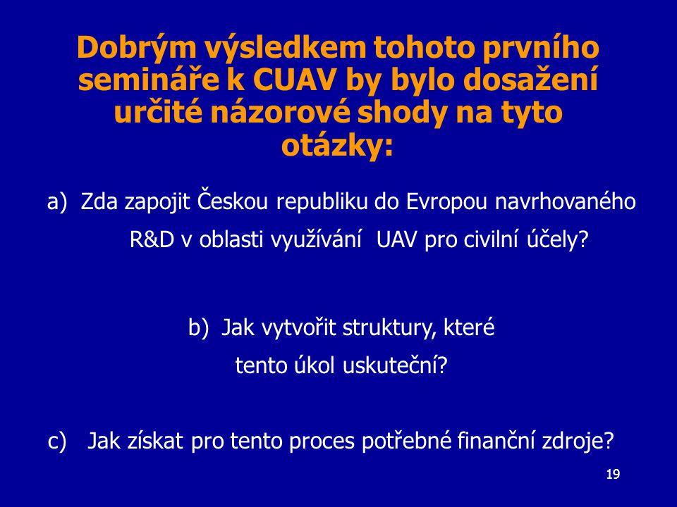 19 a)Zda zapojit Českou republiku do Evropou navrhovaného R&D v oblasti využívání UAV pro civilní účely.