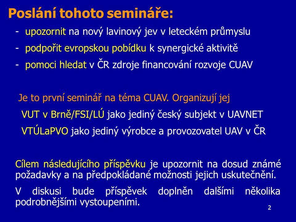 2 - upozornit na nový lavinový jev v leteckém průmyslu - podpořit evropskou pobídku k synergické aktivitě - pomoci hledat v ČR zdroje financování rozvoje CUAV Je to první seminář na téma CUAV.