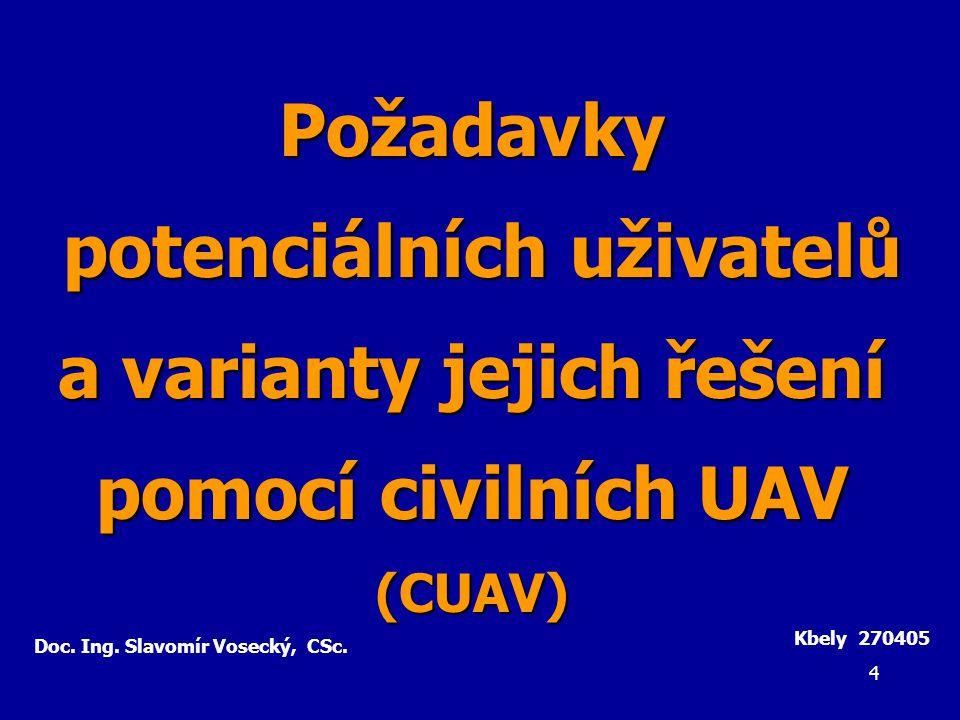 5 a) Dosud zjištěné požadavky potenciálních uživatelů/zákazníků v ČR odpovídají předpokladům evropské komunity pro CUAV b) V ČR existuje značný zájem o tyto oblasti použití CUAV: - bezpečnost státu (monitorování, hlídkování, kontrola …) - integrovaný záchranný systém (hasiči, zdrav., policie …) - doprava (monitorování silniční, železniční, vodní; stav tras) - energetika (el.