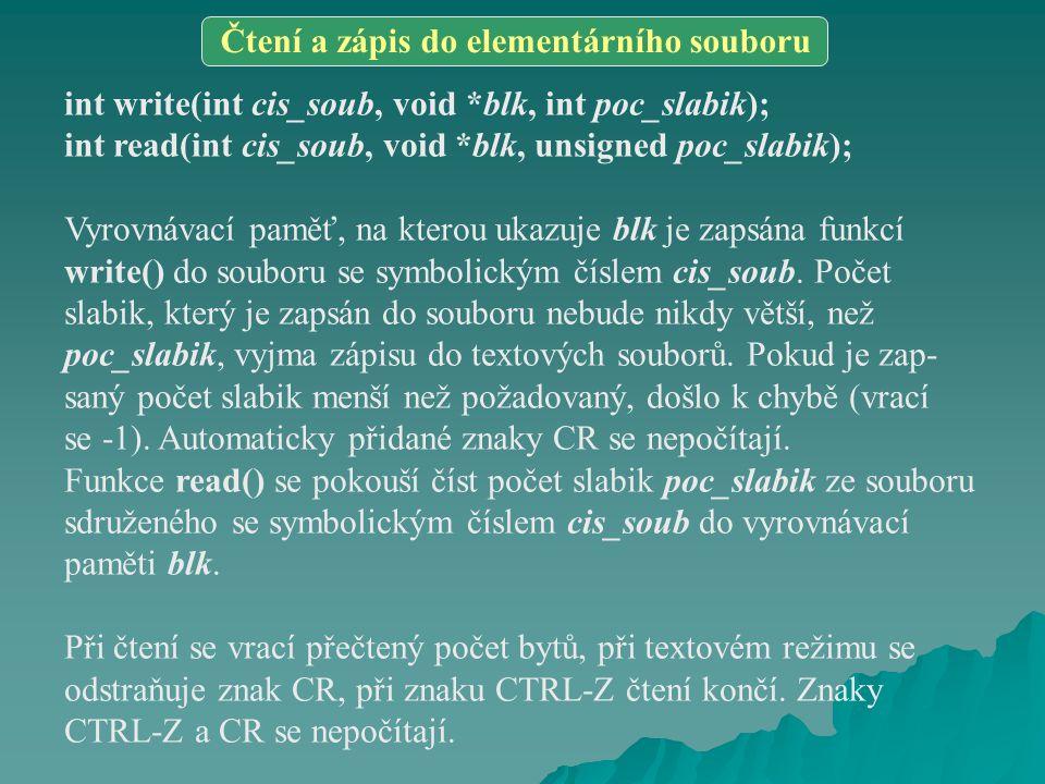 float GLOB = 9.9; #include dat.h … GLOB *= 6.2; … extern float GLOB; #include dat.h … if(GLOB > 1234.5) { … } … dat.c dat.hb1.c b2.c - při překladu modulu s definicemi globálních dat je potřeba vyřadit část hlavičkového souboru s deklaracemi globálních proměnných #define DATA #include hl.h #undef DATA int promenna_1 = 6; struct uiop str = { AHOJ , ANO, 3.5}; #include hl.h void fce1(void) { … } void fce2(struct uiop *par) { … } #define ANO1 #define NE0 structuiop { char *a; int dotaz; float q; }; void fce1(void); void fce2(struct uiop*); #if !defined DATA extern int promenna_1; extern struct uiop str; #endif #include hl.h void main(void) { fce2(&str); fce1(); } x3.c hl.h x1.c x2.c