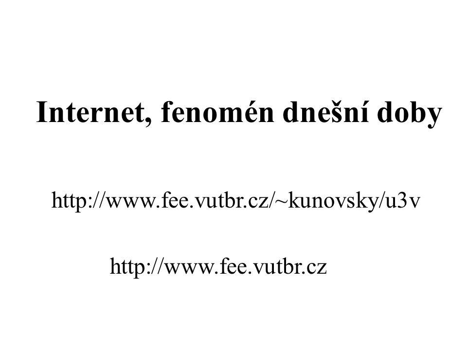 Internet, fenomén dnešní doby http://www.fee.vutbr.cz/~kunovsky/u3v http://www.fee.vutbr.cz