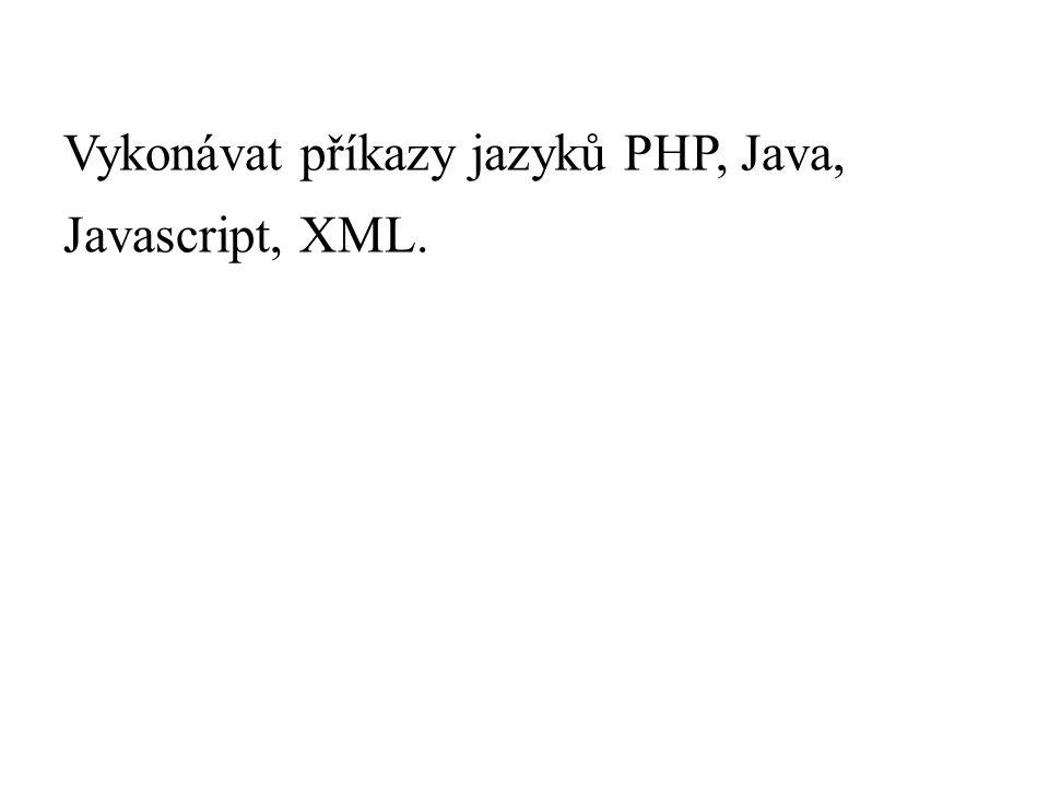 Vykonávat příkazy jazyků PHP, Java, Javascript, XML.