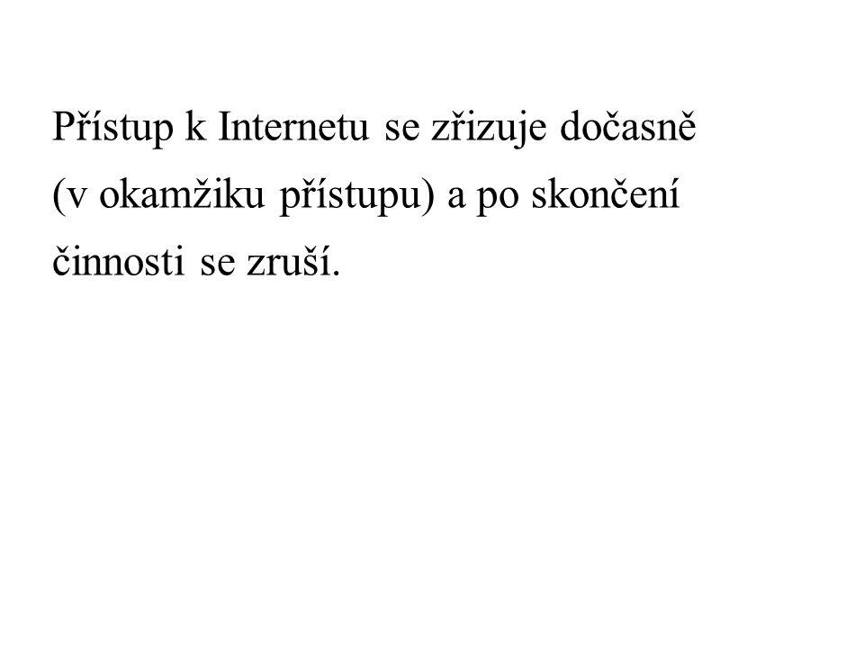Přístup k Internetu se zřizuje dočasně (v okamžiku přístupu) a po skončení činnosti se zruší.