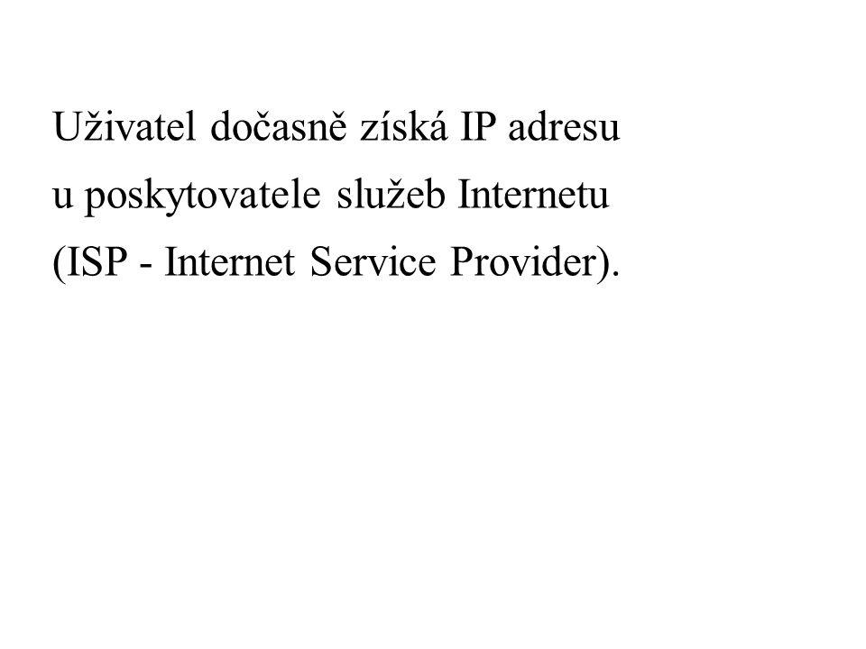 Uživatel dočasně získá IP adresu u poskytovatele služeb Internetu (ISP - Internet Service Provider).