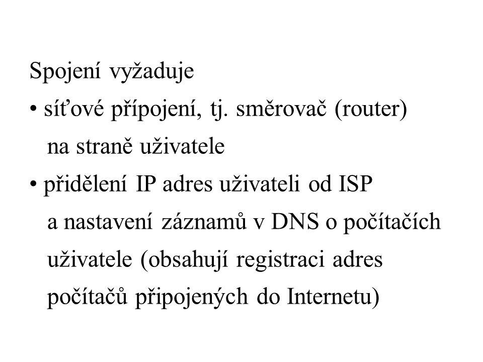 Spojení vyžaduje síťové přípojení, tj.