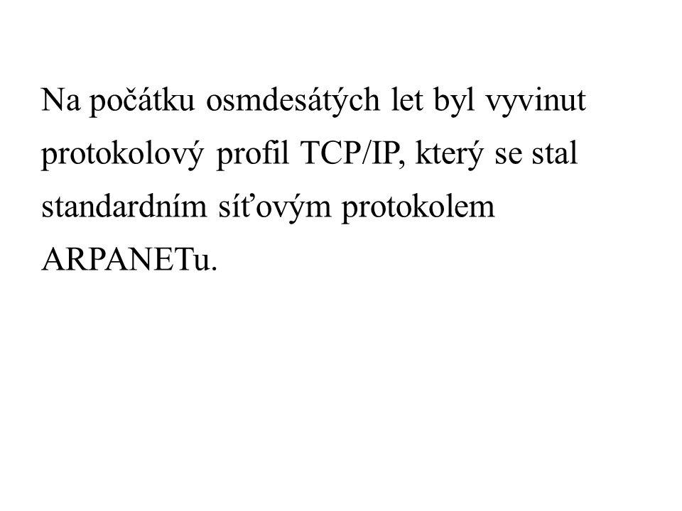 Na počátku osmdesátých let byl vyvinut protokolový profil TCP/IP, který se stal standardním síťovým protokolem ARPANETu.