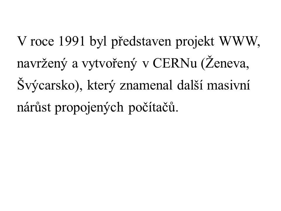 V roce 1991 byl představen projekt WWW, navržený a vytvořený v CERNu (Ženeva, Švýcarsko), který znamenal další masivní nárůst propojených počítačů.