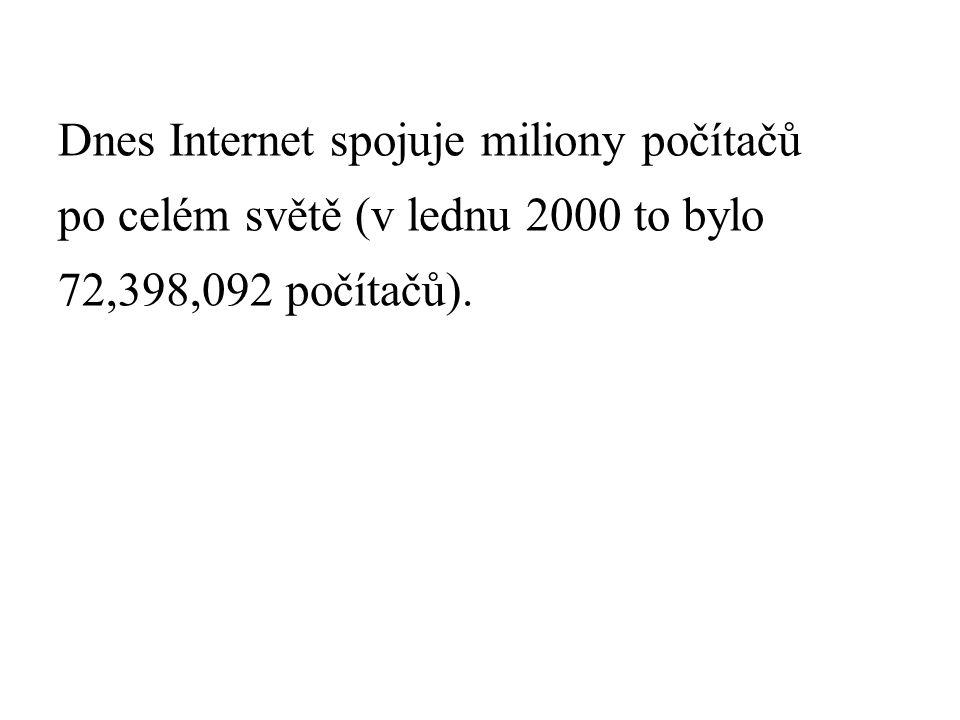 Dnes Internet spojuje miliony počítačů po celém světě (v lednu 2000 to bylo 72,398,092 počítačů).