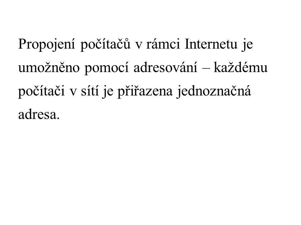 Propojení počítačů v rámci Internetu je umožněno pomocí adresování – každému počítači v sítí je přiřazena jednoznačná adresa.