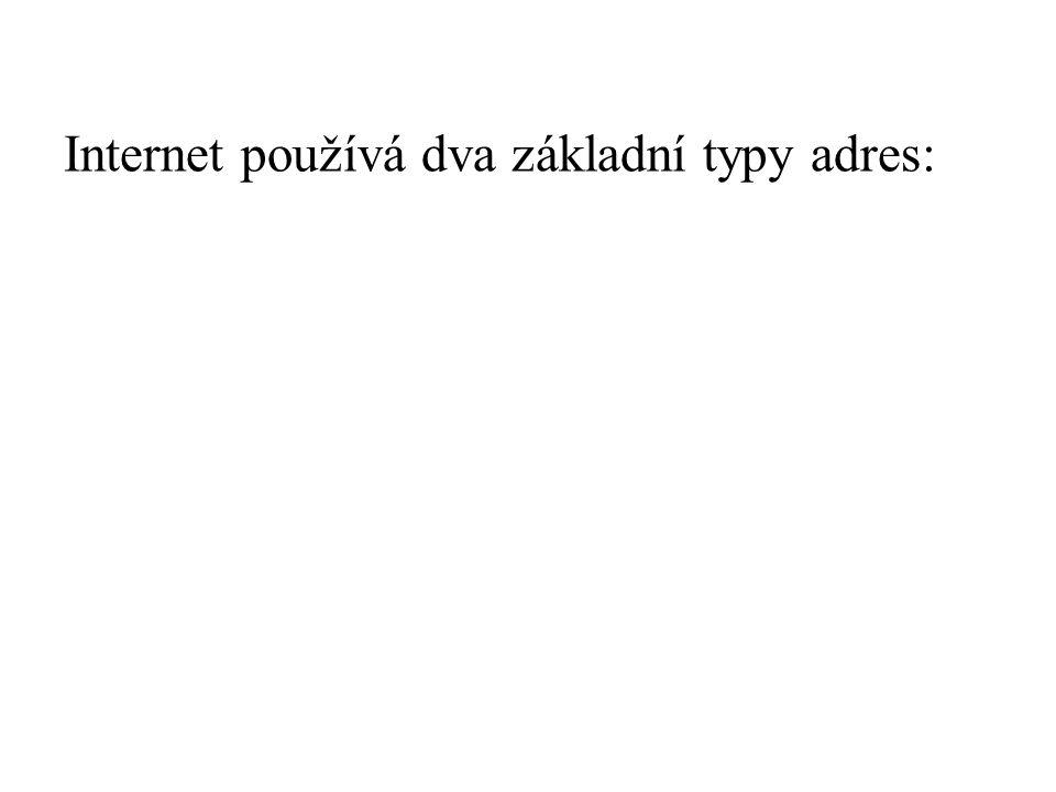 Internet používá dva základní typy adres: