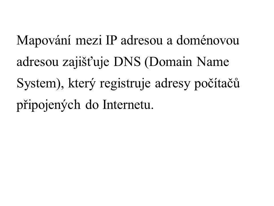 Mapování mezi IP adresou a doménovou adresou zajišťuje DNS (Domain Name System), který registruje adresy počítačů připojených do Internetu.