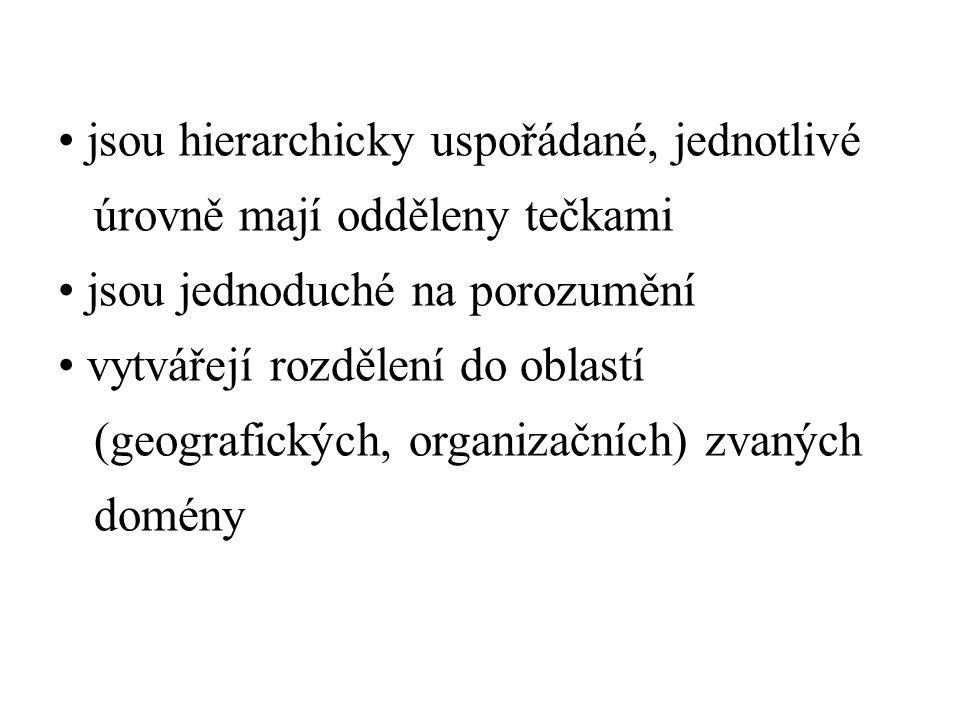 jsou hierarchicky uspořádané, jednotlivé úrovně mají odděleny tečkami jsou jednoduché na porozumění vytvářejí rozdělení do oblastí (geografických, organizačních) zvaných domény