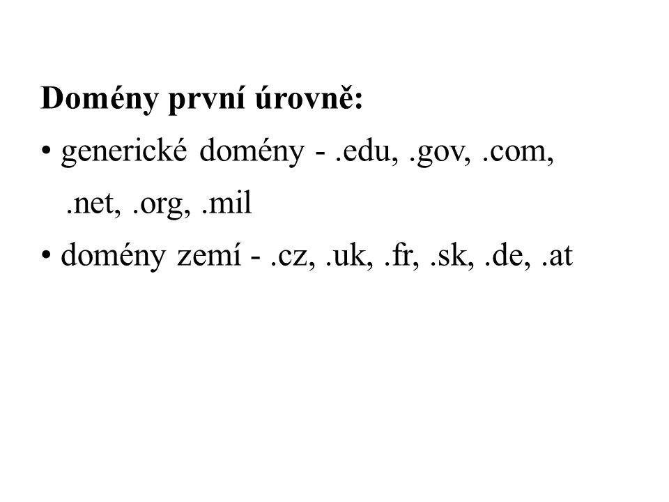 Domény první úrovně: generické domény -.edu,.gov,.com,.net,.org,.mil domény zemí -.cz,.uk,.fr,.sk,.de,.at