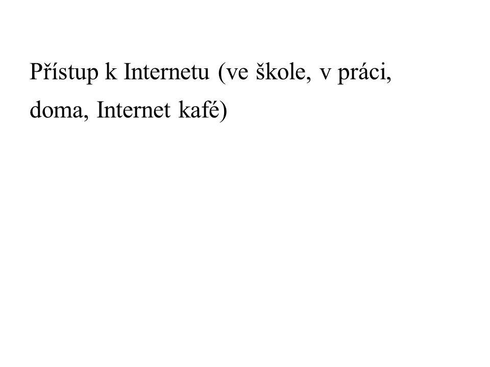 Přístup k Internetu (ve škole, v práci, doma, Internet kafé)