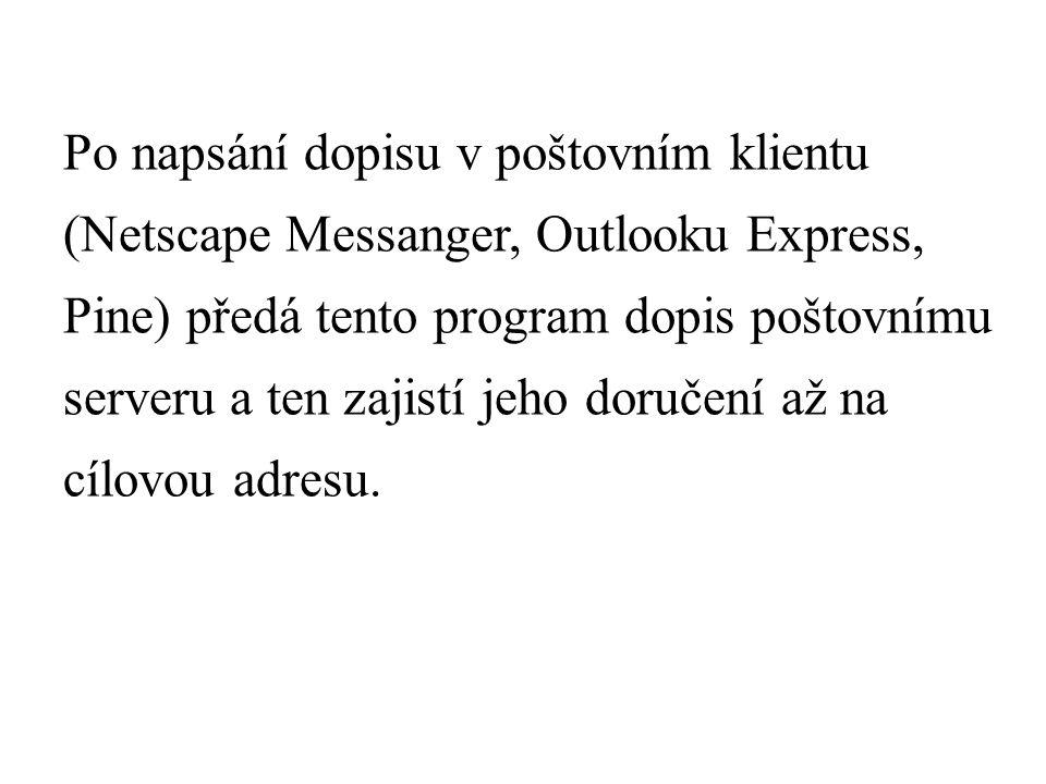 Po napsání dopisu v poštovním klientu (Netscape Messanger, Outlooku Express, Pine) předá tento program dopis poštovnímu serveru a ten zajistí jeho doručení až na cílovou adresu.