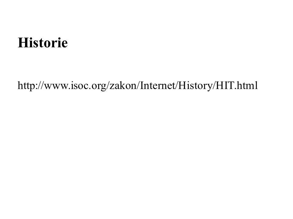 Historie http://www.isoc.org/zakon/Internet/History/HIT.html