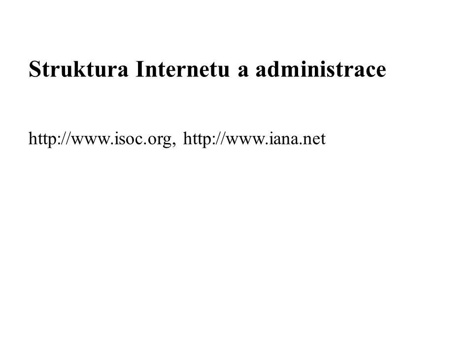 Struktura Internetu a administrace http://www.isoc.org, http://www.iana.net