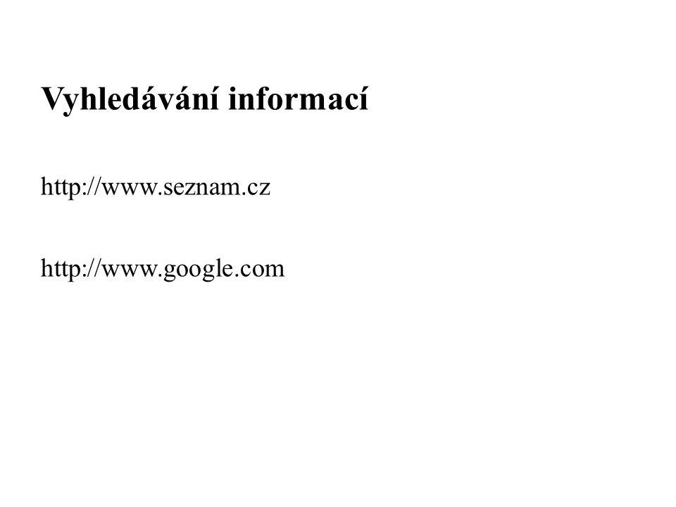 Vyhledávání informací http://www.seznam.cz http://www.google.com
