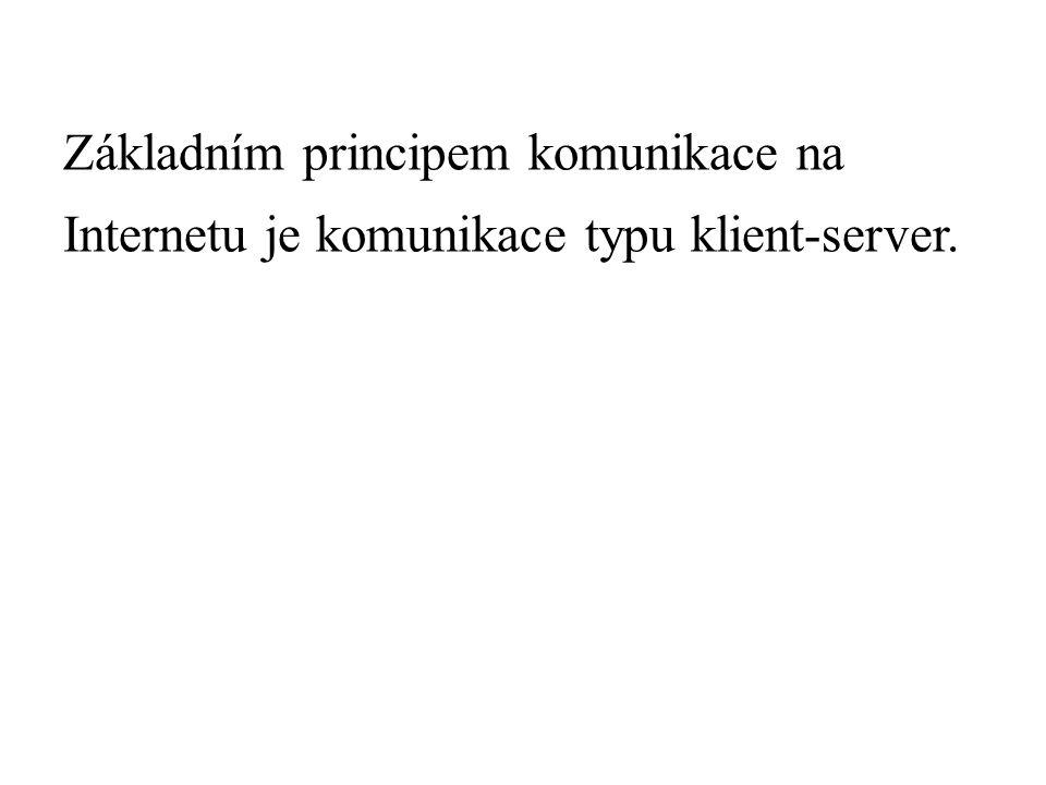 Základním principem komunikace na Internetu je komunikace typu klient-server.