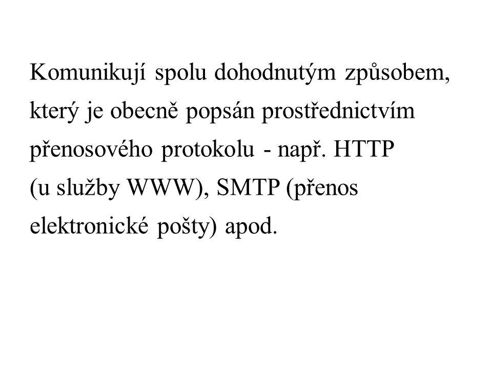 Komunikují spolu dohodnutým způsobem, který je obecně popsán prostřednictvím přenosového protokolu - např.