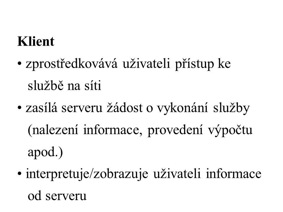 Klient zprostředkovává uživateli přístup ke službě na síti zasílá serveru žádost o vykonání služby (nalezení informace, provedení výpočtu apod.) interpretuje/zobrazuje uživateli informace od serveru