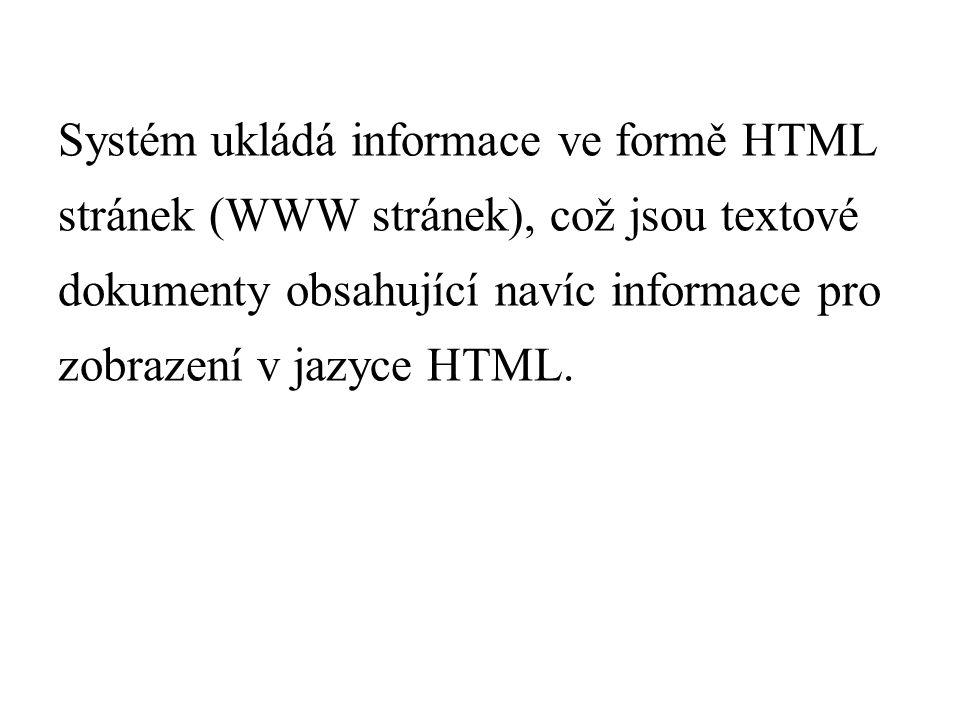 Systém ukládá informace ve formě HTML stránek (WWW stránek), což jsou textové dokumenty obsahující navíc informace pro zobrazení v jazyce HTML.