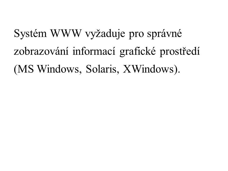 Systém WWW vyžaduje pro správné zobrazování informací grafické prostředí (MS Windows, Solaris, XWindows).