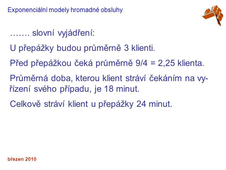 březen 2010 Exponenciální modely hromadné obsluhy ……. slovní vyjádření: U přepážky budou průměrně 3 klienti. Před přepážkou čeká průměrně 9/4 = 2,25 k