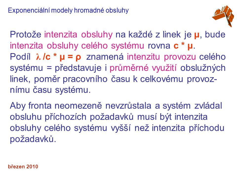 březen 2010 Exponenciální modely hromadné obsluhy Protože intenzita obsluhy na každé z linek je μ, bude intenzita obsluhy celého systému rovna c * μ.