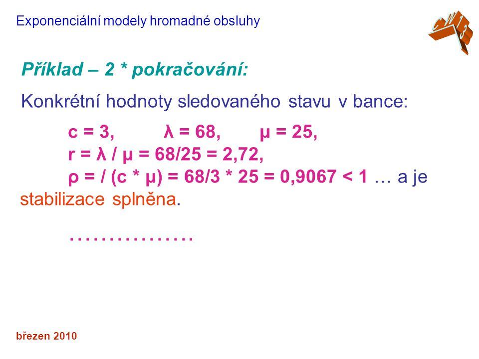 březen 2010 Exponenciální modely hromadné obsluhy Příklad – 2 * pokračování: Konkrétní hodnoty sledovaného stavu v bance: c = 3, λ = 68, μ = 25, r = λ / μ = 68/25 = 2,72, ρ = / (c * μ) = 68/3 * 25 = 0,9067 < 1 … a je stabilizace splněna.