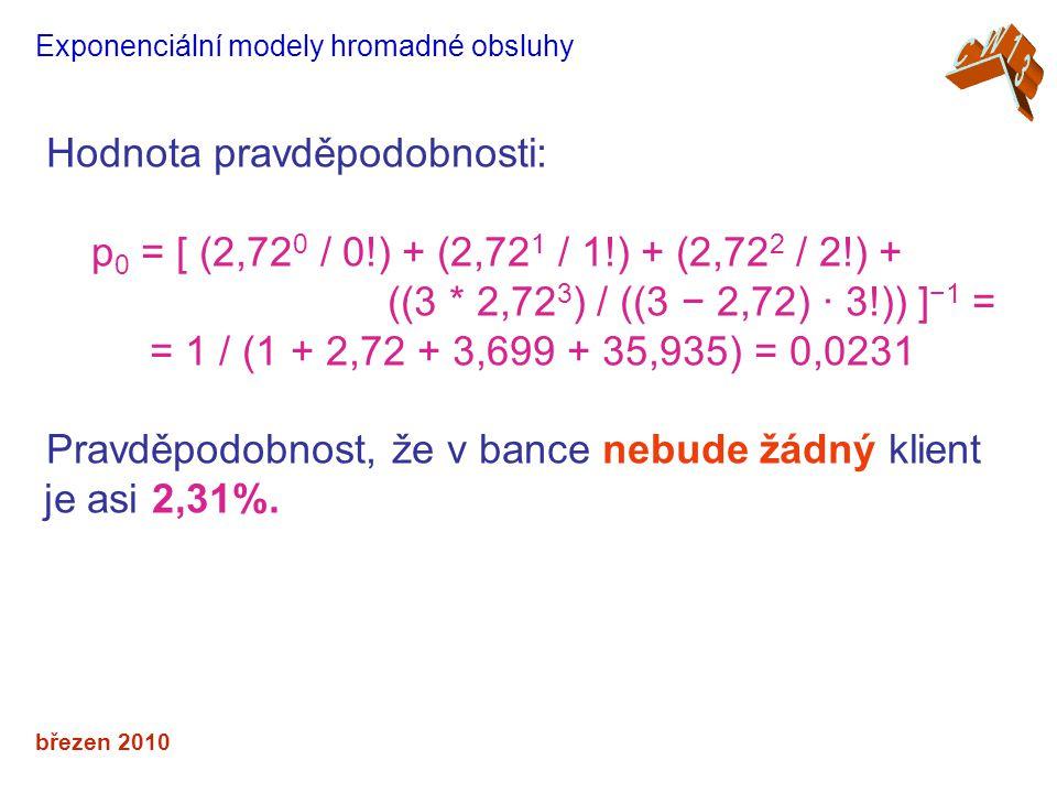 březen 2010 Exponenciální modely hromadné obsluhy Hodnota pravděpodobnosti: p 0 = [ (2,72 0 / 0!) + (2,72 1 / 1!) + (2,72 2 / 2!) + ((3 * 2,72 3 ) / ((3 − 2,72) · 3!)) ] −1 = = 1 / (1 + 2,72 + 3,699 + 35,935) = 0,0231 Pravděpodobnost, že v bance nebude žádný klient je asi 2,31%.