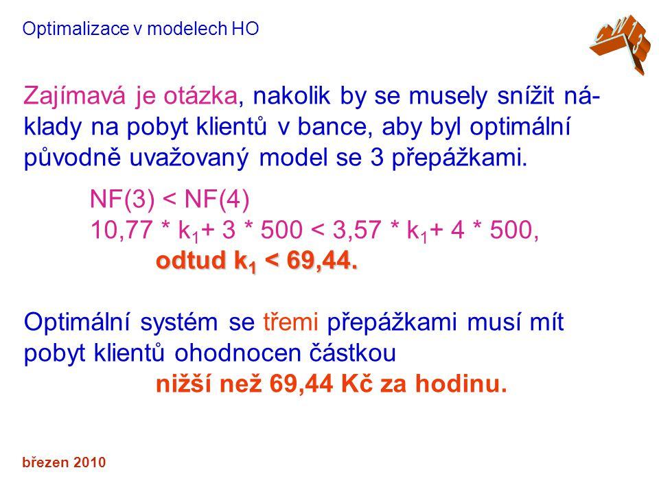 březen 2010 Optimalizace v modelech HO Zajímavá je otázka, nakolik by se musely snížit ná- klady na pobyt klientů v bance, aby byl optimální původně uvažovaný model se 3 přepážkami.
