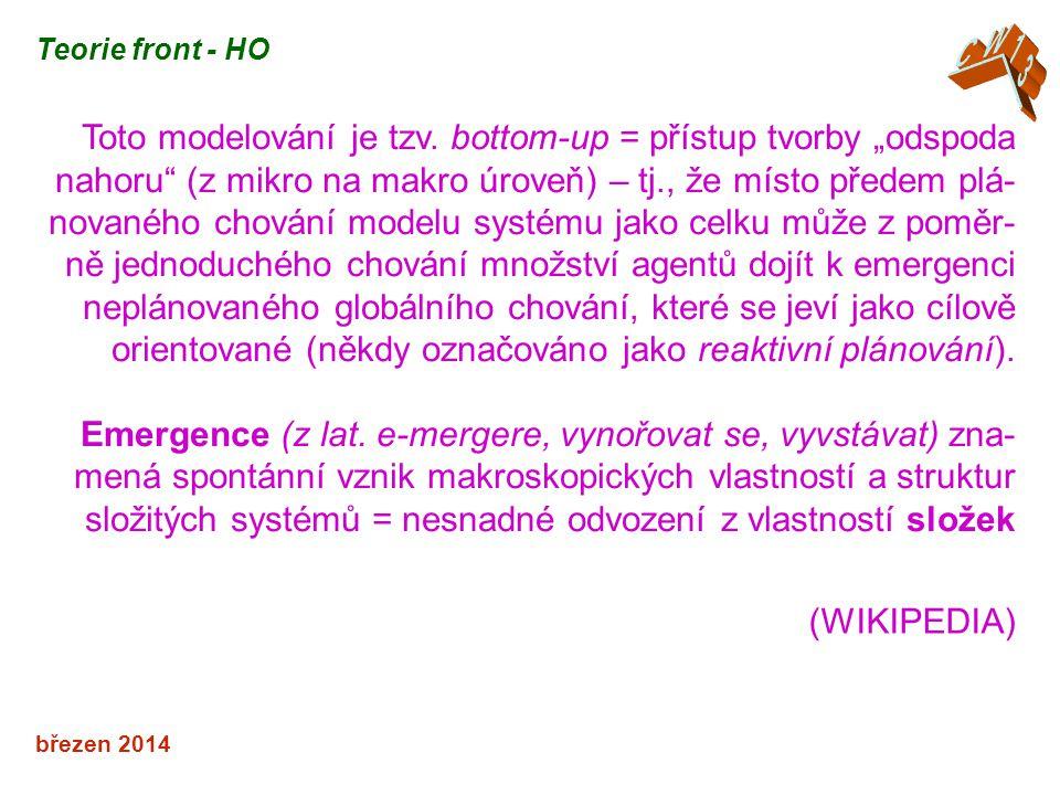 březen 2014 Teorie front - HO Toto modelování je tzv.
